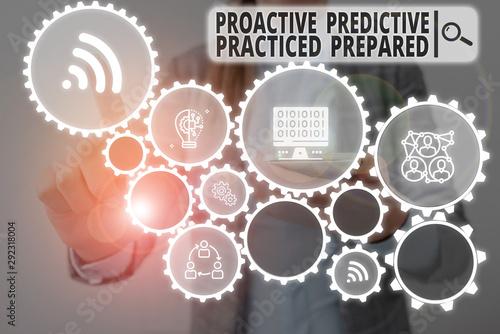 Word writing text Proactive Predictive Practiced Prepared Wallpaper Mural