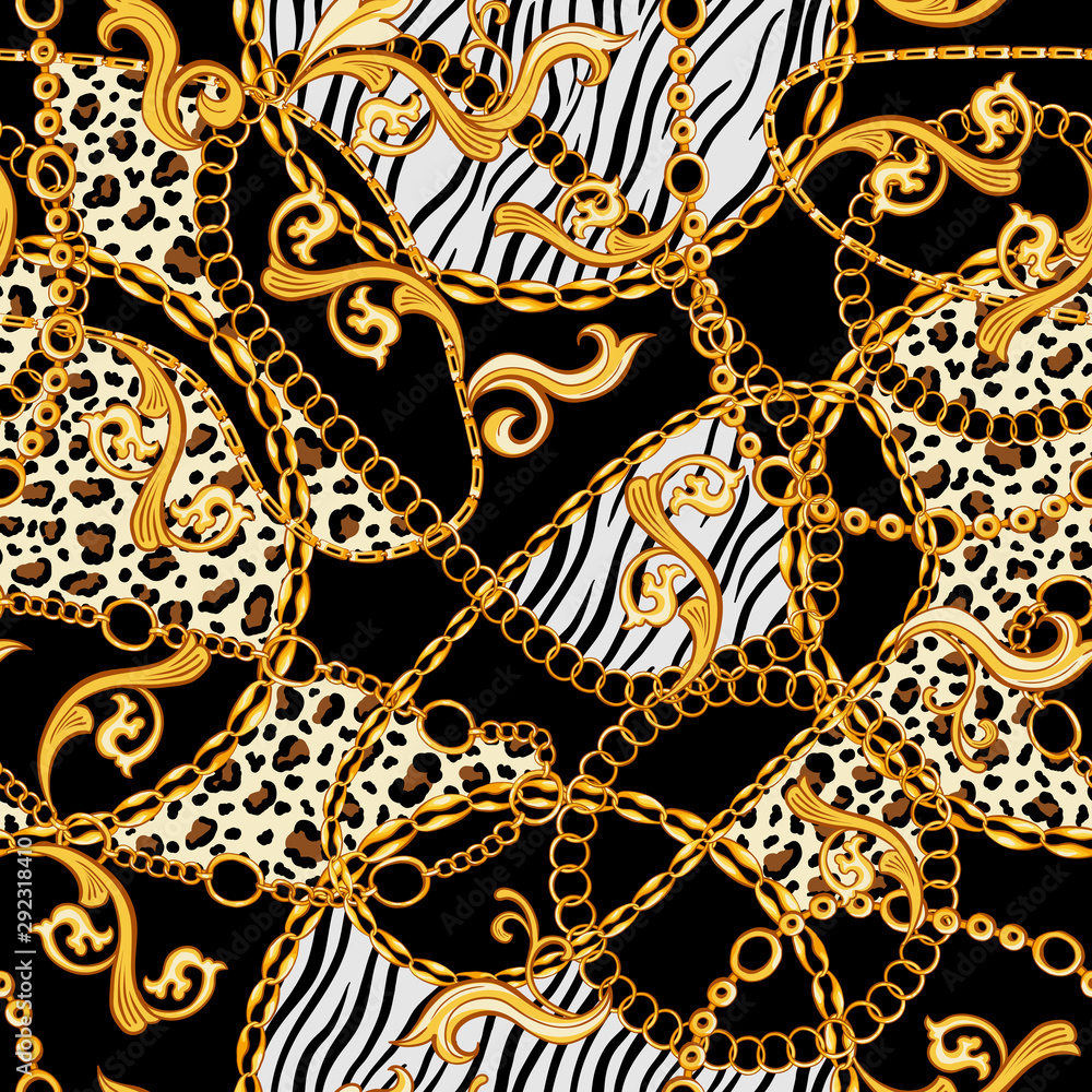Golden Chains, Baroque Ornaments mixed with Tiger and Zebra Animals Patterns. Seamless pattern with black background. The Eighties stylized fashion