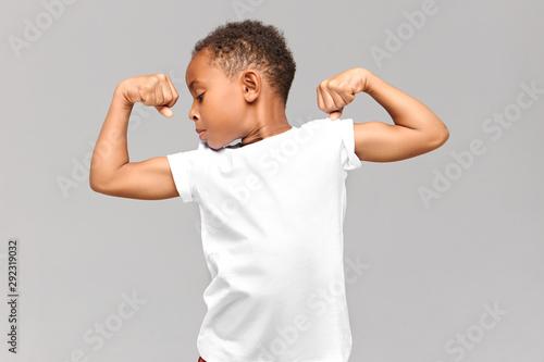 Canvas Print Children, fitness and bodybuilder concept
