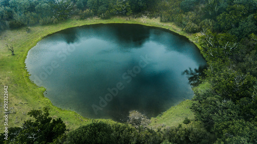 Canvas Print Aerial view of natural pond surrounded by pine trees in Fanal, Madeira island, P