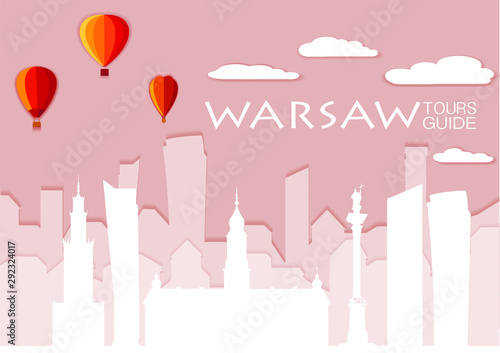 Warsaw silhouette, paper cut stile vector skyline illustration, clouds, airship, collage icon, city panorama