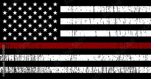 Photo American Flag with red line - honoring Firefighters