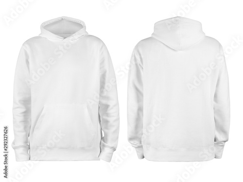 Fotografía  Men's white blank hoodie template,from two sides, natural shape on invisible man