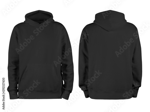 Cuadros en Lienzo  Men's black blank hoodie template,from two sides, natural shape on invisible man