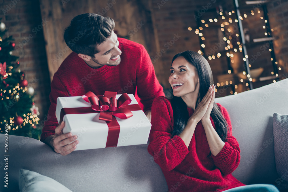 Fototapety, obrazy: Portrait of his he her she nice attractive lovely sweet charming cheerful cheery glad married spouses guy giving latin hispanic girl eve noel gift in decorated loft industrial style interior