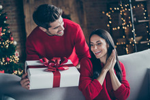 Portrait Of Two Brunet Haired Romantic Couple Give New Year Christmas X-mas Present To His Lady Sit On Divan Couch In Decorative House Indoors