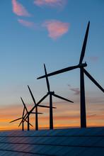 Wind Turbine Energy Generaters On Wind Farm