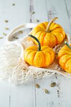 Still Life Composition With Colorful Decorative Mini Pumpkins And Pumpkin Seeds. Mini Orange Pumpkins, Holiday Decoration.