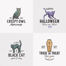 Vintage Style Halloween Logos Or Labels Template Set. Hand Drawn Owl, Evil Cats And Coffin Sketch Symbols Collection. Retro Typography. Shabby Textures Background.