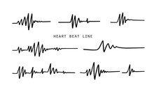Heart Beat Line. Simple Collection Of Cardiogram Related Line Icons. Thin Line Vector Set Of Signs For Infographic, Logo, App Development And Website Design. Vector Illustration.