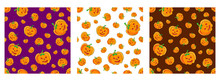Vector Seamless Halloween Pattern Set With Cartoon Cute And Funny Pumpkins On Various Backdrop. Halloween Background With Evil Pumpkin. Jack-o-lantern Pattern For Halloween Thanksgiving Party Design.