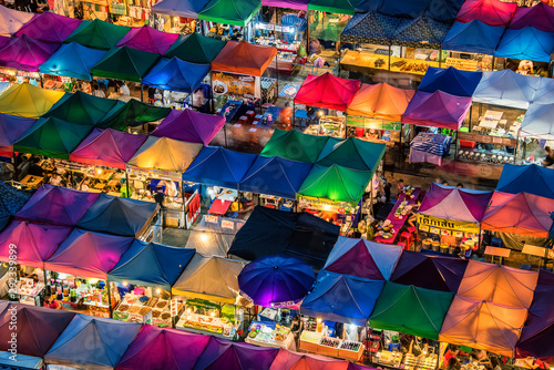 Train night market in Ratchadapisek Bangkok Canvas Print