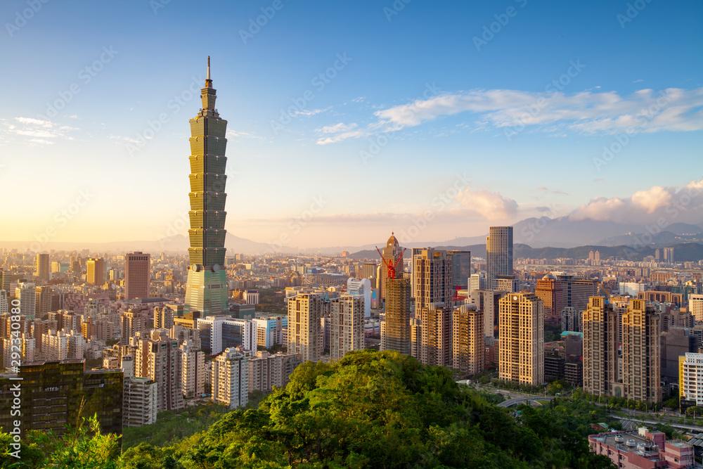 Fototapety, obrazy: City of Taipei at sunset, Taiwan