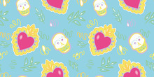 Seamless Vector Day Of The Dead Folk Art Pattern With Burning Red Heart And Shugar Scull In Pastel Tones. Funny And Happy Design For Your Perfect Party.