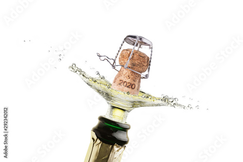 A cork splash with champagne or sparkling wine for the new year 2020 Tablou Canvas