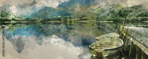 Poster Kaki Digital watercolor painting of Panorama landscape rowing boats on lake with jetty against mountain background