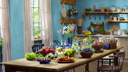 Fotografía  landscape picture with kitchen room decoration showcase