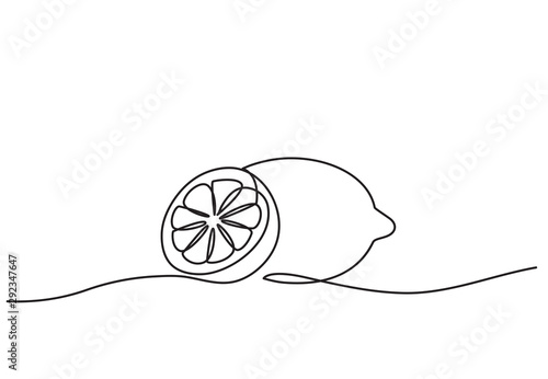 Continuous one line drawing. Lemon lime fruits. - 292347647