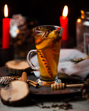 Tea With Cinnamon Stick, Orange And Cloves