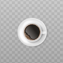 White Cup Of Black Coffee With Realistic Foam Froth Seen From Top View