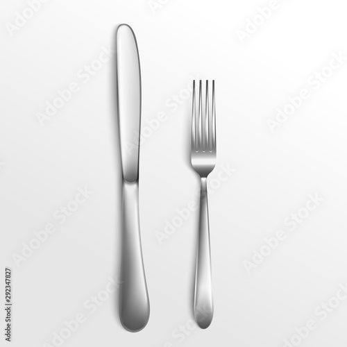 Fotomural  Cutlery set of silver fork and knife top view 3d vector illustration isolated