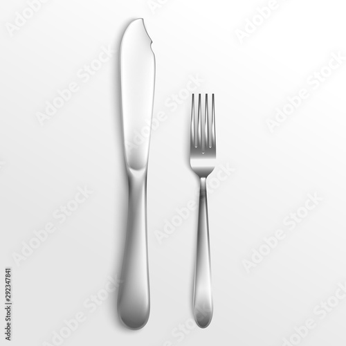 Fotografía  Cutlery set of silver fork and knife laying 3d vector illustration isolated