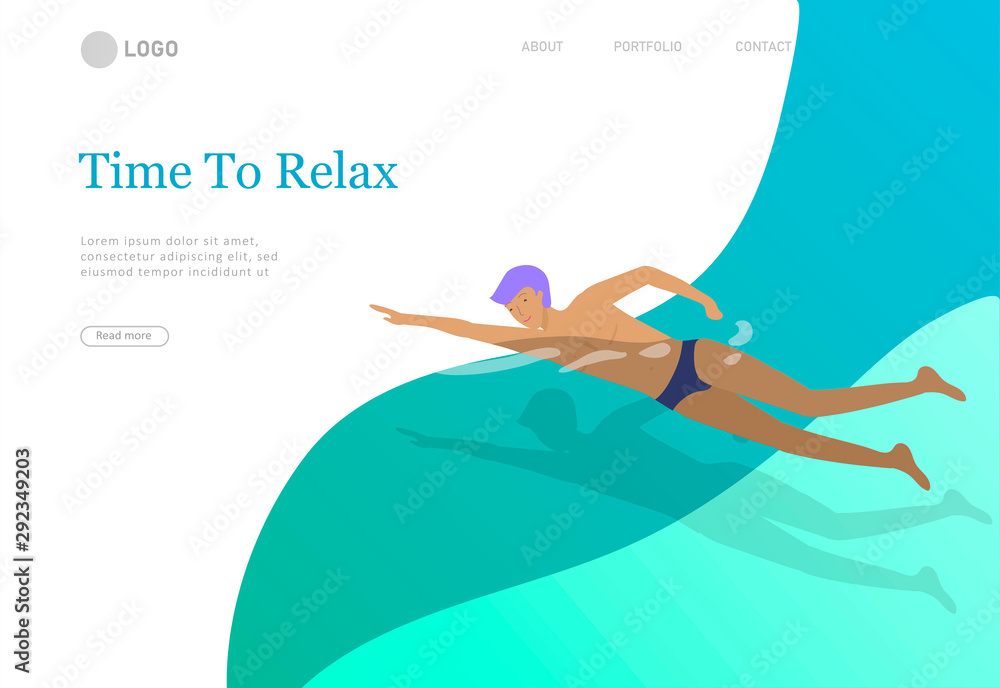 Fototapety, obrazy: People family and children in sea, pool or ocean performing activities. Men or women swimming in swimwear, diving, surfing, lying on floating air mattress, playing ball. Cartoon vector