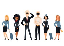 Flight Aircraft Crew Or Staff Characters Flat Vector Illustrations Set Isolated.