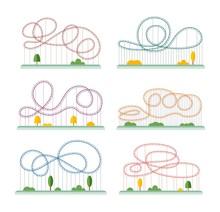 Amusement Park Rollercoaster Ride Set - Cartoon Roller Coaster Rail Tracks