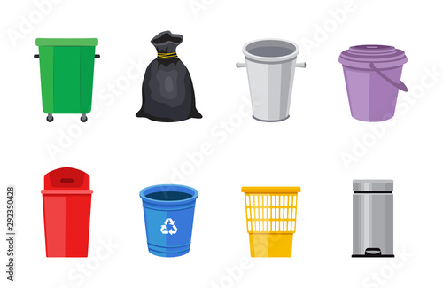 Fototapety, obrazy: Set of trash bins or garbage containers flat vector illustration isolated.