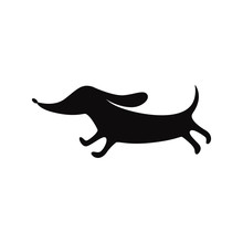 Icon With Black Silhouette Of A Dog, The Breed Dachshund, Animal And Pet.