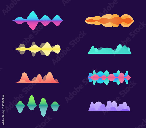 Photo Music sound amplitude waves and curves set neon vector illustration isolated