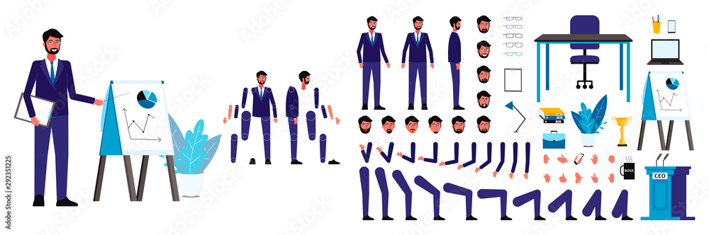 Fototapety, obrazy: Set of figures and body, head and arms, legs and faces of a male ceo businessman for animation.