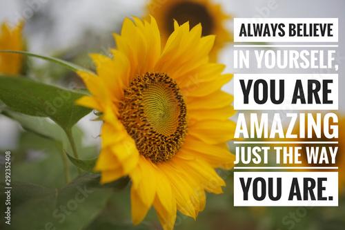 Inspirational  quote - always believe in yourself Wallpaper Mural