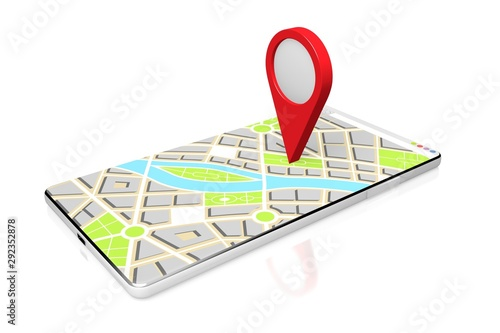 Pinturas sobre lienzo  3D smartphone, map - location concept