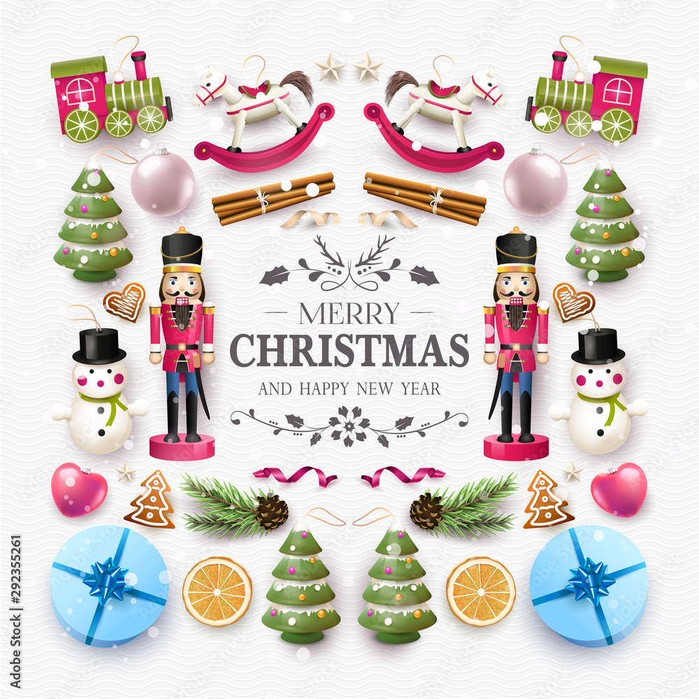 Fototapety, obrazy: Christmas composition with wooden toys and decorations.