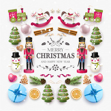 Christmas Composition With Wooden Toys And Decorations.