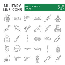 Military Thin Line Icon Set, W...