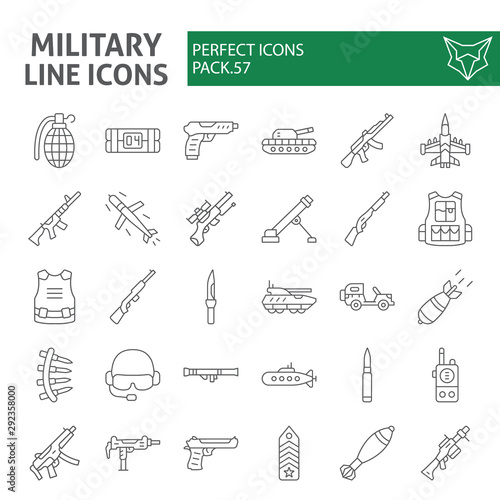 Obraz Military thin line icon set, war and army symbols collection, vector sketches, logo illustrations, weapon signs linear pictograms package isolated on white background. - fototapety do salonu