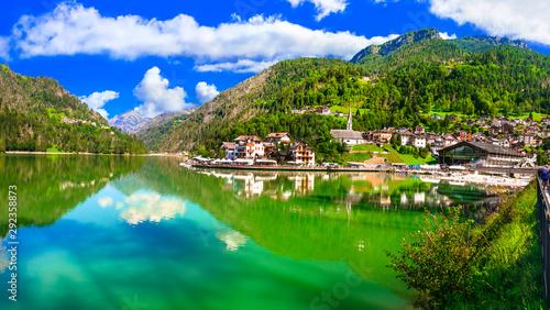 Beautiful mountain lake Lago di Alleghe in Dolomites Alps, northen Italy