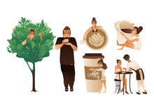 Coffee Set Of People Coffee Lovers Flat Cartoon Vector Illustrations Isolated.