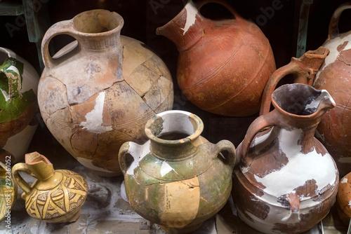 Fototapeta Ancient ceramic pottery found in Tanais. Archeological items obraz