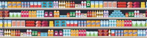 Fotomural  Grocery items on the store shelves vector flat seamless background illustration