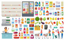 Set For A Grocery Supermarket And A Store With Products And A Cash Register, People And Shelves.