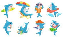 Cute Shark On Summer Vacation - Cartoon Set. Blue And White Fish Swimming, Surfing, Diving, Etc.