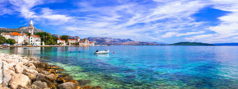 Fototapety, obrazy: Idyllic coastal villages in Croatia. Kastella in Dalmatia.Kastel Stafilic  village