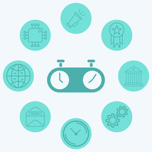 Chess Clock Vector Icon Sign S...
