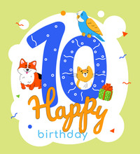 Children 10th Birthday Greeting Card Vector Template