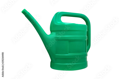 Obraz green plastic garden watering can isolated on white background - fototapety do salonu