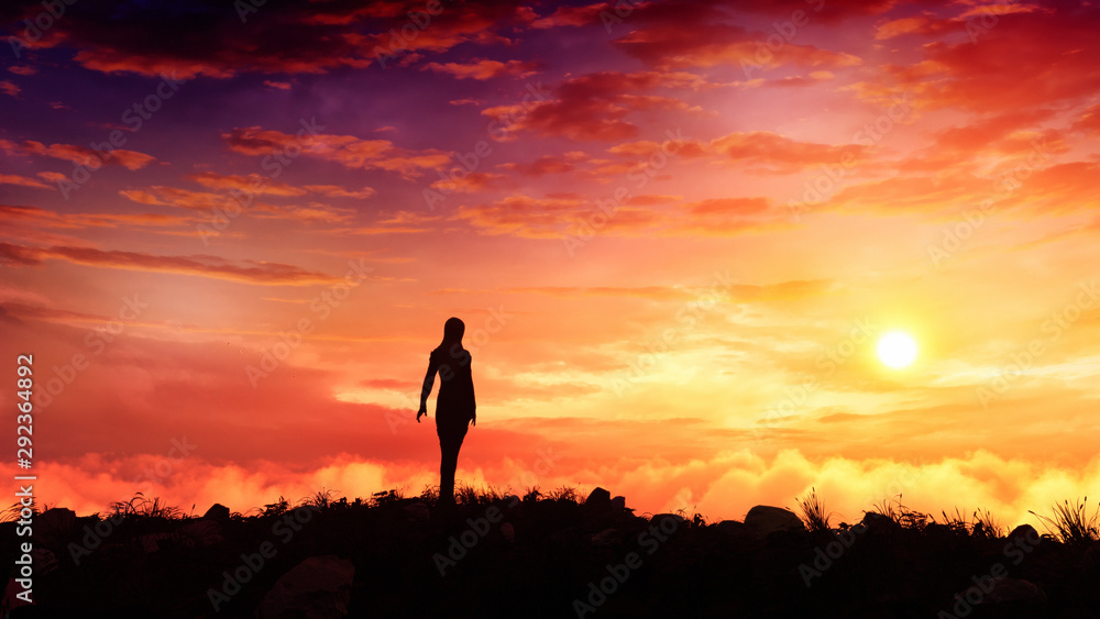 Fototapety, obrazy: surreal fantasy woman figure standing on top of a hill watching majestic sunset